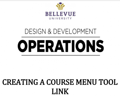 Course Menu Tool Link Tutorial