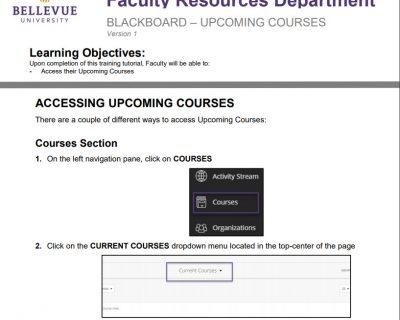 Upcoming Courses in Blackboard Tutorial
