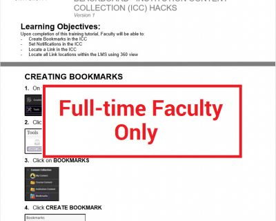 ICC Hacks Quick Guide & Tutorial (Full-time Faculty ONLY)