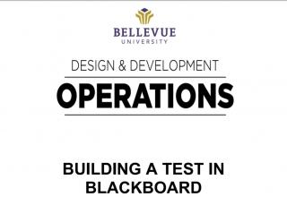 Building a Test in Blackboard